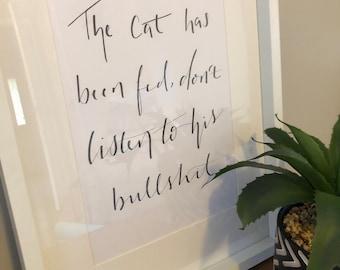 Print, print for the home, wall decor, wall hanging, cat print, animal print, modern calligraphy