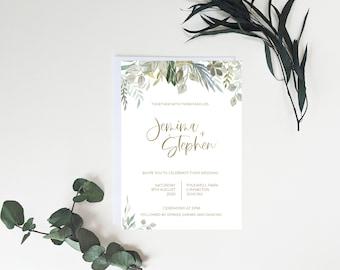 Wedding invite template, Wedding invitation digital download, Botanical wedding invitation, Boho watercolour template, Modern wedding invite