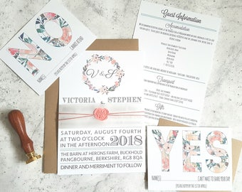 Rustic wedding invitation, Floral wedding, Woodland wedding invite, Garden wedding, Wedding stationery, Summer wedding, Boho wedding, Barn