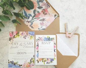 Floral wedding invitation, Vintage wedding invitation, Rustic wedding invite, Wedding invites, Wedding stationery, Outdoors wedding invite