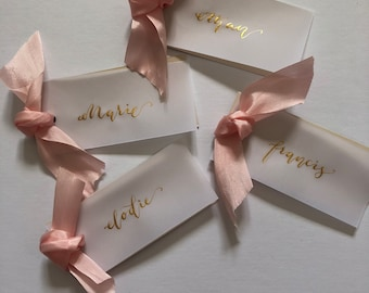 Ribbon place cards, place cards, name cards, escort place cards, place cards with ribbon, wedding decor, ribbon, name cards with ribbon