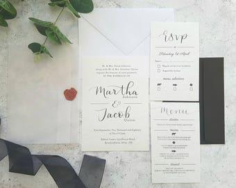 Vellum invitation, Traditional wedding invitations, Classic wedding invitation, Formal invites, Black and white invitations, Elegant wedding