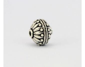#446 11 x 14mm Antique Bali Style 925 Sterling Silver Oval Bead Limited Edition