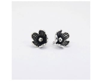 2 Beads Oxidized 925 Sterling Silver 7.5mm Flower Charms F231