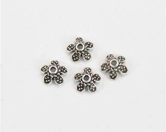 4 Beads Oxidized 925 Sterling Silver 6.5mm Flower Cap F261