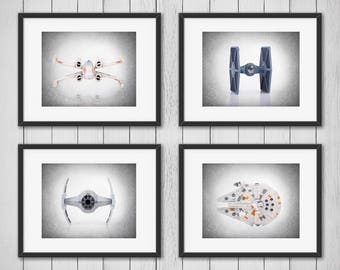 Imprimer 4 Star Wars tirages, Star Wars, Star wars art mural, Star wars, décor de Star wars, Star wars art, affiche de Star wars, décor de la chambre garçons