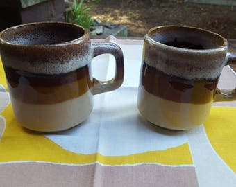 Vintage Set of 2 Stoneware Mugs Brown Drip Stripes, Couples Gift Idea