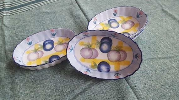 Large Ramekins Small Oval Berry and Tulip Baking Dish Set of 4 Cassoulet