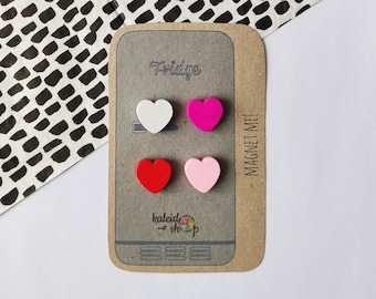 Wooden Heart Fridge Magnets, Mothers Day Gift, Wooden Hearts, Heart, Magnetic Board, Fridge Magnets, Love Magnets, Wooden Magnets, Set of 4