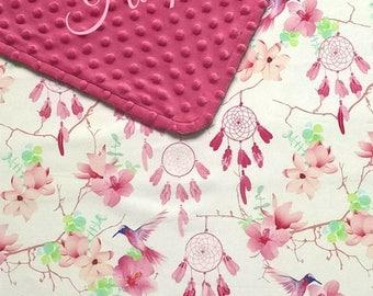 Personalized custom hummingbird baby girl blanket, Flowers and dream catcher nursery bedding with birds, Boho custom baby shower gift idea