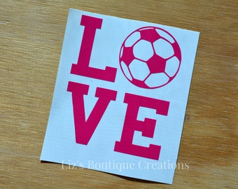 soccer decal, love soccer, vinyl sticker, Yeti soccer custom decal, personalized soccer name, sports decal, car soccer decal