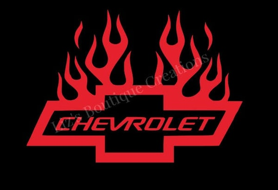 Chevy Bowtie Flames Decal Chevrolet Vinyl Decal Sticker Car