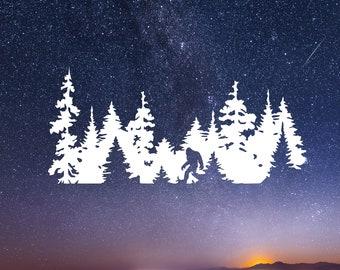 Bigfoot Tree Decal - Bigfoot Decal - Sasquatch Sticker - Toyota accessories - Sasquatch Bigfoot Gift Idea - Jeep Decal