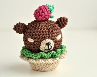 Raspberry bear cup-cake crochet amigurumu gift