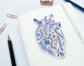 Kintsugi heart sticker - Broken Heart - Heartbroken - delft blue anatomical heart sticker - wabi sabi - floral sticker - plant vinyl sticker