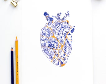 Kintsugi Heart Art Print - anatomical botanical heart illustration - delft blue - floral heart drawing - broken heart anatomy wall art