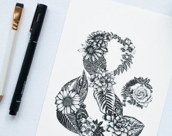 Botanical ampersand print - floral lettering botanical art work - black & white plants and flowers ink drawing - modern typography wall art