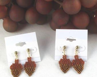 e21067a74 Beaded Acorn Earrings Fall Acorn Dangle Drop Post Earrings Thanksgiving Acorn  Earrings