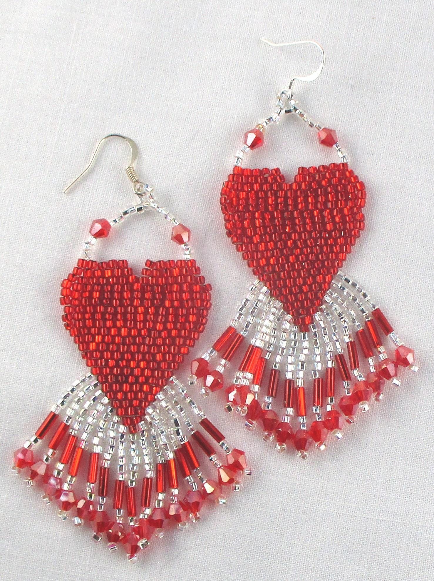Valentine Red Heart Beaded Chandelier Earrings Glass Seed Bead Fringe Dangle
