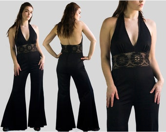 eaebb5b30828 1970s Black Lace Cutout Halter Neck Flare Leg Jumpsuit    Vintage 70s Sexy  Halter Sleeveless Wide Leg Jumpsuit    Size M Medium L Large