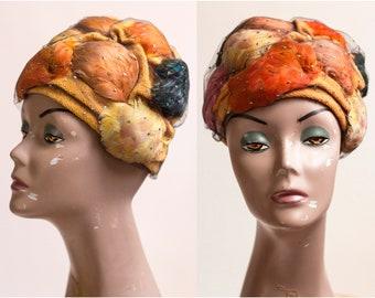 1960s Feather Glitter Netting Turban    Vintage 60s Cloth Turban Jenny  Banta    Size 22 3737122d9d3