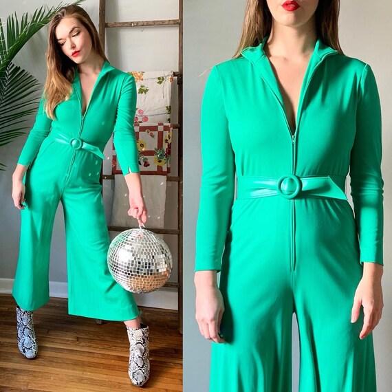 1970s Green Belted Jumpsuit // Vintage 70s Front Z