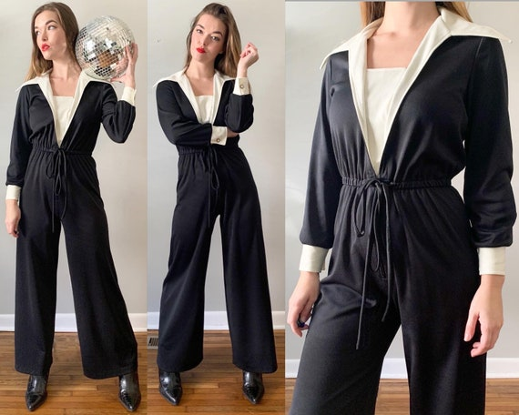 1970s Black and White Classic Jumpsuit // Vintage
