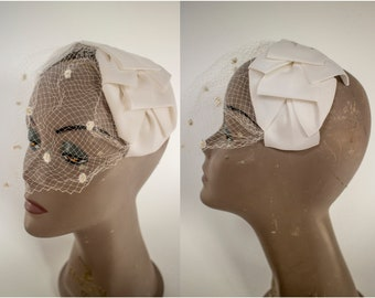 1960s White Bow Headband with Net Veil // Vintage 60s Bow Half Hat