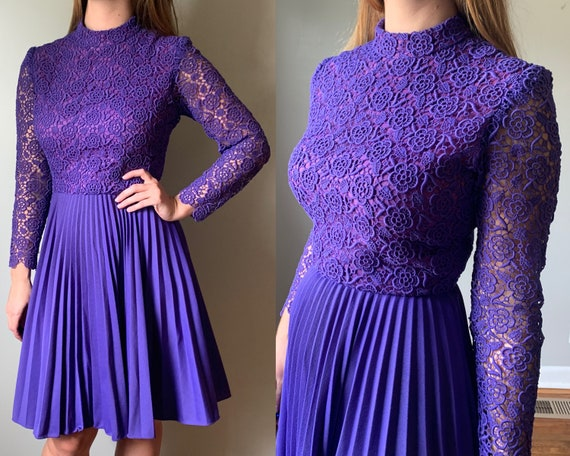 1970s Purple Pleated Skater Dress // Vintage 70s P