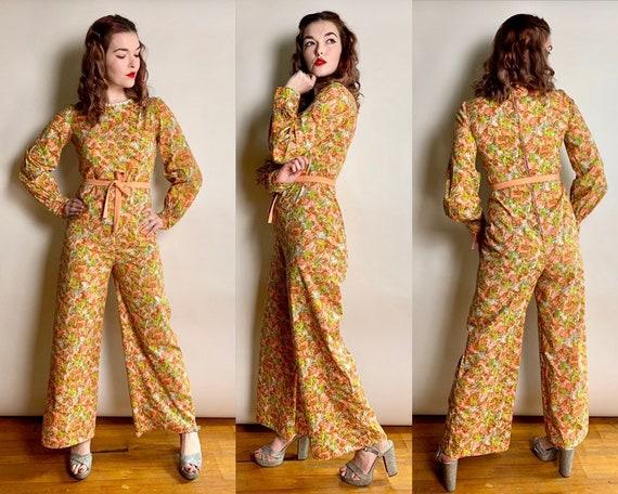 1960s Fern Printed Floral Bishop Sleeves Jumpsuit