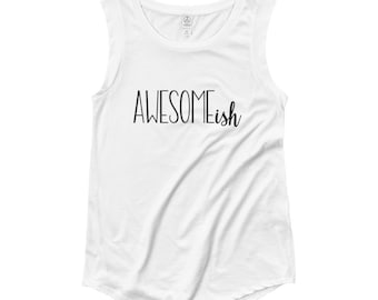 Awesome...ish // Women's White Tank Top