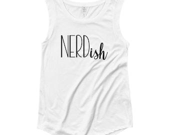 Nerd...ish // Women's White Tank Top