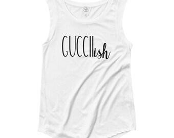Guccii...ish // Women's White Tank Top