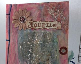 OOAK Handmade Mixed media Journal - Pink