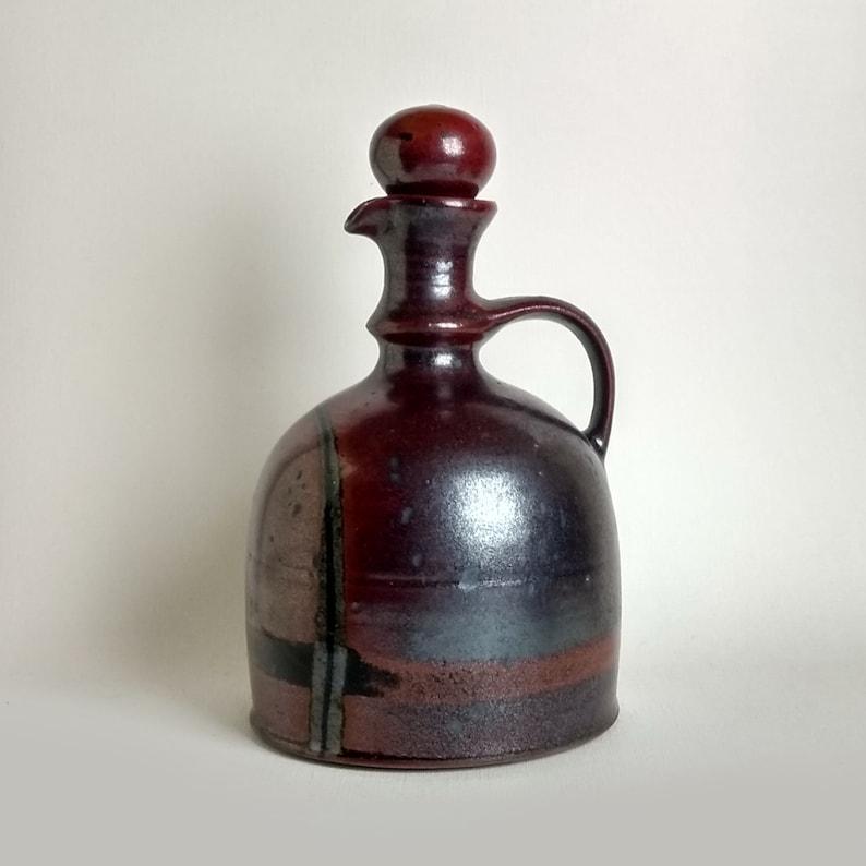 Jane Bailey stoneware ewercarafe with ball stopper 1970s studio stoneware from Denmark.