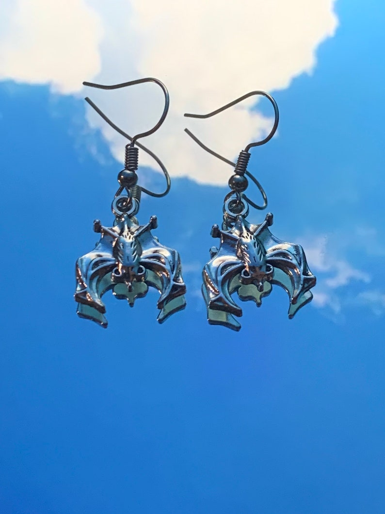 bat earrings nickel free earrings silver earrings halloween earrings
