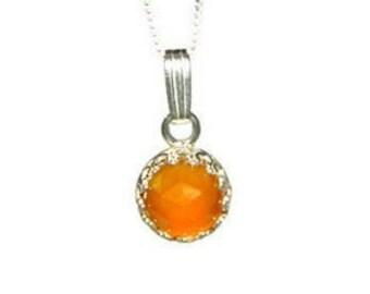 Cabochon Necklace, Honey Topaz Pendant Necklace, Sterling Silver Chain