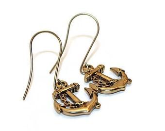 Anchor Earrings, Bronze Earrings, Nautical Jewelry,