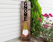 Spring Front Porch Sign svg, dxf, png, eps jpeg - Gnome Sweet Gnome - Vertical Sign SVG, Porch Sign Cut File, Gnome Welcome Sign