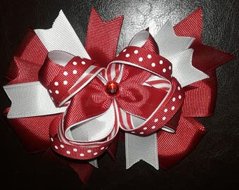 5 inch red and white ribbon hair bow