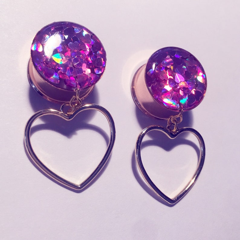 18mm hot pink holo hearts and hollow heart dangle plugs!