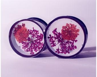 18mm Purple and orange lace flower plugs!