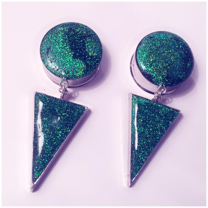 Dark green holographic glitter arrow dangle plugs!