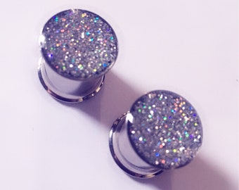 10mm Silver holographic glitter plugs!