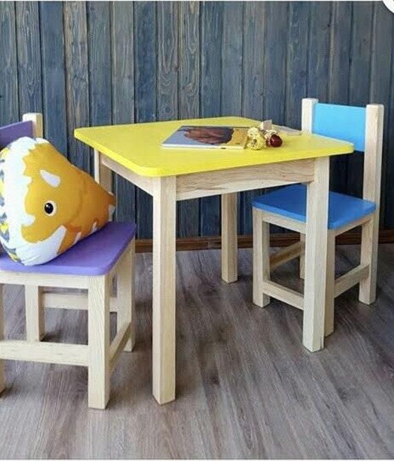 Sedie Fatte Con Mollette Di Legno.Sedie Fatte A Mano In Legno Per Bambini Tavolo Set Di 2 Etsy