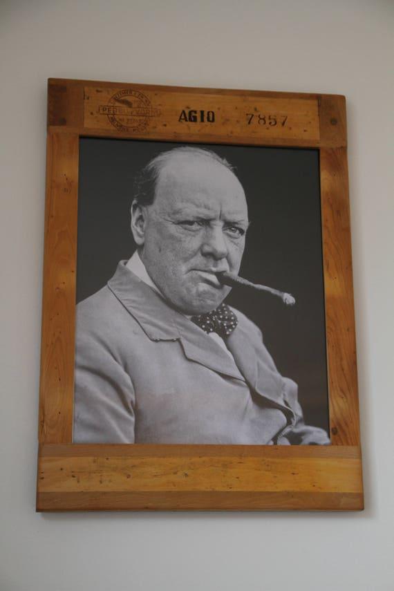 Vintage Bilderrahmen Holz Winston Churchill   Etsy