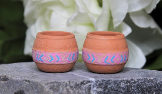 Miniature Dollhouse FAIRY GARDEN Accessories ~ Set of 3 Rustic Clay Pots ~ NEW