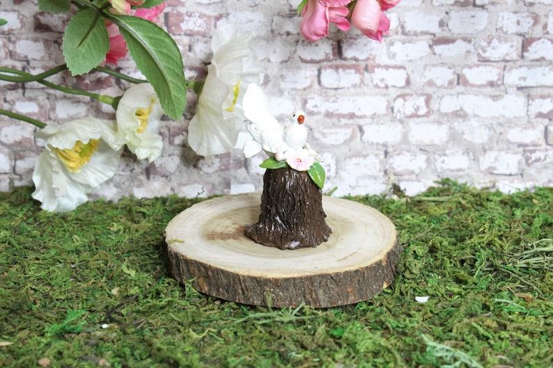 Miniature Fairy Garden White Dove On A Tree Stump, Dollhouse Miniature Bird  Figurines, Tiny Garden Decoration Accessories, Mini Lawn Decor