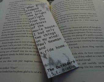 Outsiders Quote Bookmark - When I Stepped Out Into The Bright Sunlight