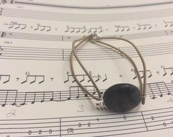 Guitar string bangle with green jasper coin gemstone